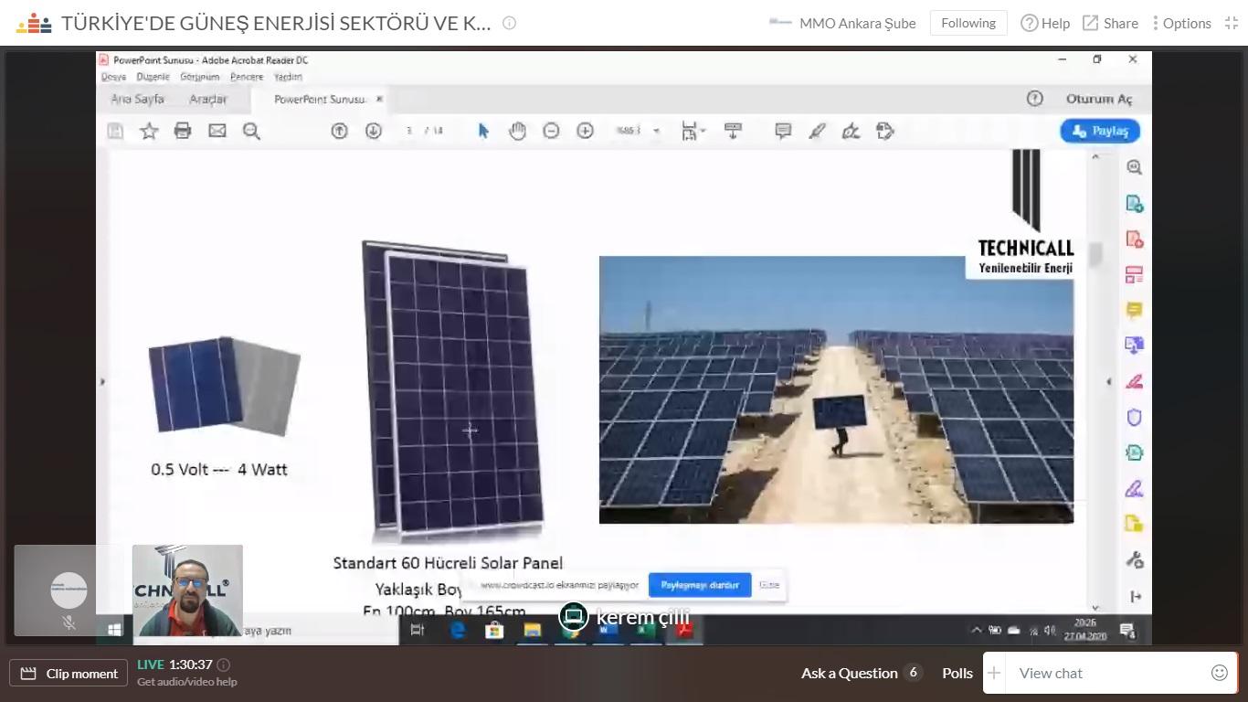 mmo güneş enerjisi semineri kerem çilli